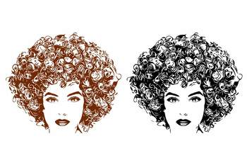 Black woman svg Natural Hair Afro clipart 140sv
