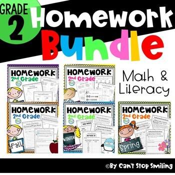Homework 2nd Grade for the Year ~ 2nd Grade Reading Homework ~ Math Homework