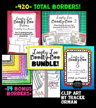 Clip Art Borders Bundle: Loopty Loo Doodly Doo for Commercial Use