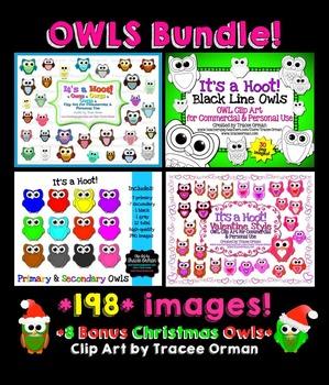 Owls Clip Art Digital Graphics Bundle
