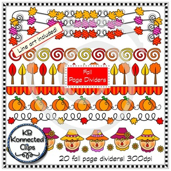 Apples and Fall Page Dividers Bundle