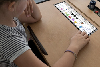 Black/Gray Chevron Desk Plates Spanish- Editable