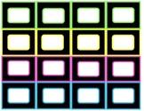 Black/Neon, Black/Rainbow, Rainbow/Neon Labels