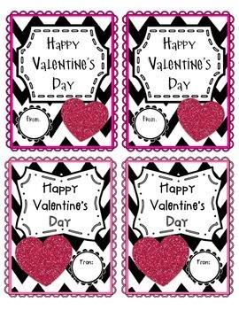 Black/Pink Glitz Valentine's Day Tag/Card
