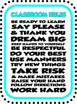 Black/Teal Rules Printable poster graphic
