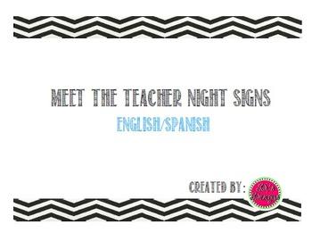 Black/White Chevron Meet the Teacher Night Organization Signs