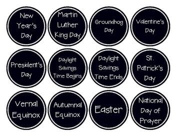 Black/White Crazy Calendar Circles - Editable