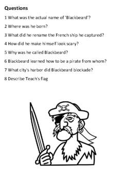 Blackbeard the Pirate Handout
