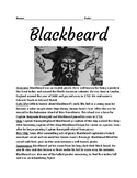 Blackbeard Pirate - lesson life story facts information review questions
