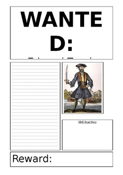 Blackbeard the pirate wanted poster template editable tpt for Wanted pirate poster template
