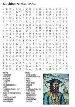Blackbeard the Pirate Word Search