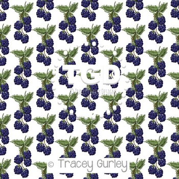 Blackberries on White digital paper Printable Tracey Gurley Designs