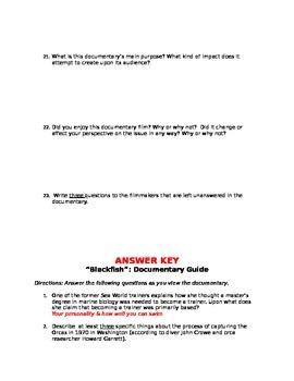 """Blackfish"" Documentary Film Guide w/ Answer Key Included"