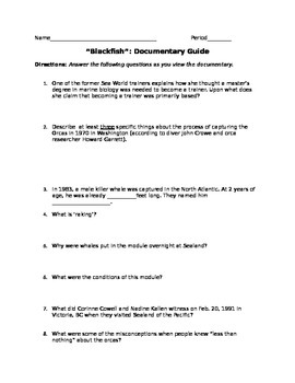 """Blackfish"" Documentary Film Guide w/ Answer Key Included"