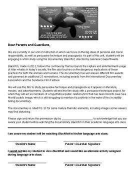 Blackfish Documentary Permission Slip - EDITABLE