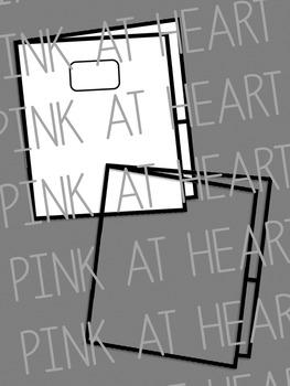 2 Pocket Folders Clip Art - Blackline