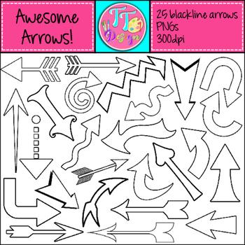 Blackline Arrows Clip Art CU OK
