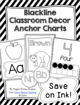 Blackline Classroom Decor Anchor Charts - Save on Ink!