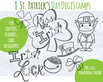SALE- Black line Clipart St. Patrick's Day, Leprechaun, Irish clip art