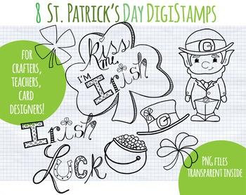 SALE- Black line Clipart St. Patrick's Day, Leprechaun, Ir