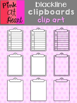 Clipboards Clip Art - Blackline