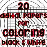 Blackline Digital Paper - Black and White Paper Patterns f