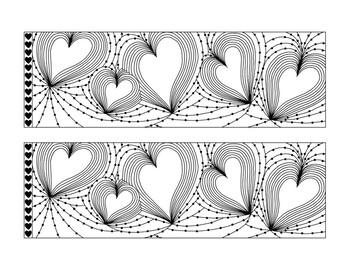 Blackline Heart Bulletin Board Border Printable PDF Valentine's Day