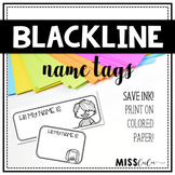 Blackline Name Tags {Editable}