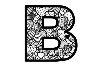 Blackline Pattern Hearts, Valentine's Day, Bulletin Board Letters, A-Z Decor