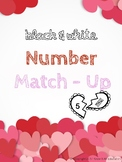 Black & White Valentine's Math Center: Match Numbers Tally Marks Base Ten Block