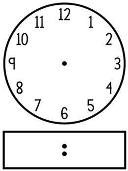 Blackline/Clip Art Clock Template - Analog and Digital