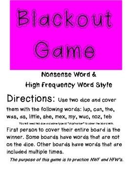 Blackout Game (NWF & HFW) for Kindergarten