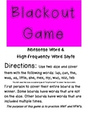 Blackout Game (NWF & HFW) for Kindergarten