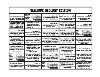 Blackout - Geology Vocabulary Review Game