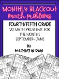 Blackout Monthly Math Fourth and Fifth Grade