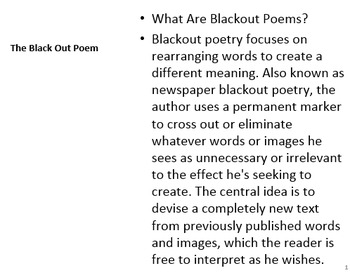 blackout poem by the write path teachers pay teachers. Black Bedroom Furniture Sets. Home Design Ideas
