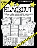 Blackout by John Rocco: Reading response activity/worksheets for 3rd-4th grade