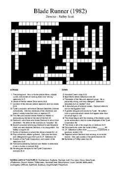 Blade Runner (1982 Film) - Review Crossword Puzzle