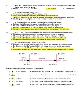 Blade Runner Film (1982) 20-Question Matching and Multiple Choice Quiz