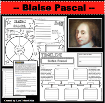Blaise Pascal Timeline Poster Acrostic Poem Activity with Reading Passage