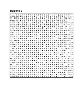 Blanc Unit 1 Wordsearch