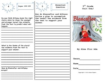 """Blancaflor"" Trifold Activity Reading Wonders 5th Grade"