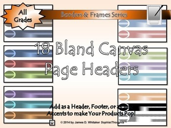 Bland Canvas Page Headers Clip Art Bundle Frames, Borders, Edges