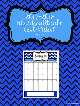 Blank and Editable August 2018 Calendar