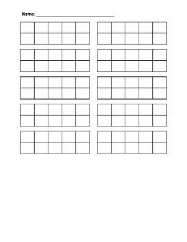 Blank 10 10s-frame worksheet by Prime for Primary | TpT