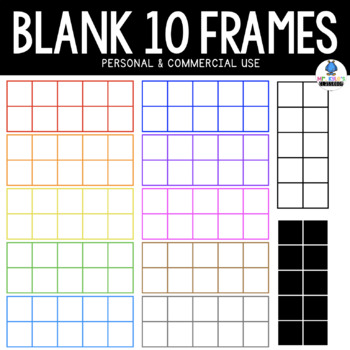 Blank 10 Frames- Ten Frame Clipart Multiple Colors! Personal & Commercial Use