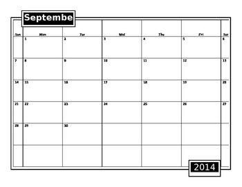 Blank Editable 2014-2015 School Calendar