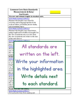 Blank 2nd Grade Common Core Standards Alignments for Teachers and Sellers