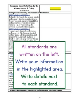 Blank 3rd Grade Common Core Standards Alignments for Teachers and Sellers