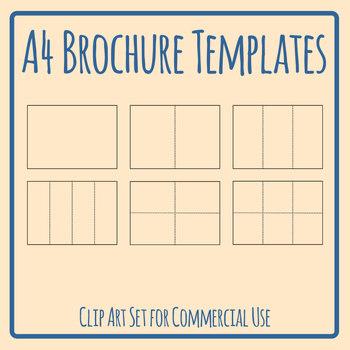Blank A4 Brochure Templates Clip Art Set Commercial Use